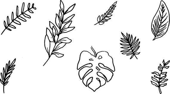 Palm and Bay Leaf Clip Art.