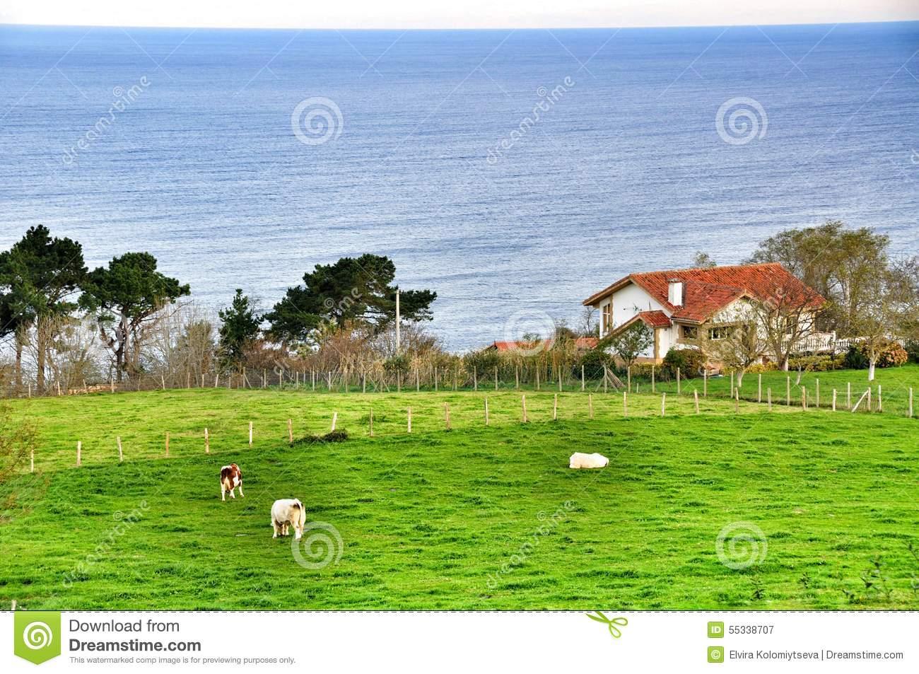 Farm In The Bay Of Biscay. San Sebastian. Spain Stock Photo.