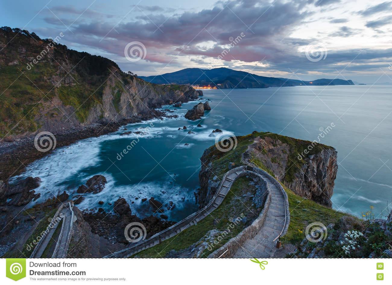 Biscay Bay Sunset Coast Landscape, Spain. Stock Photo.