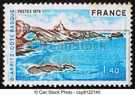 Stock Photography of Postage stamp France 1976 Biarritz, Bay of.