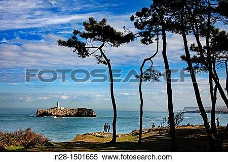 Stock Image of Mouro Island Lighthouse and Bay of Biscay.