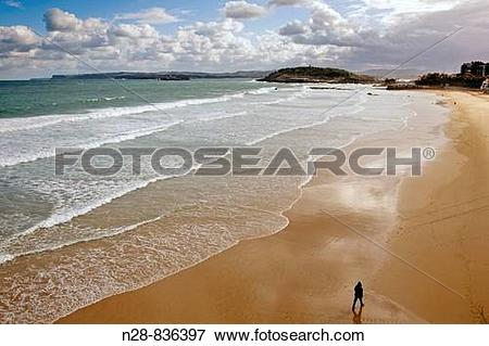 Picture of Sardinero beach and Bay of Biscay, Santander, Cantabria.
