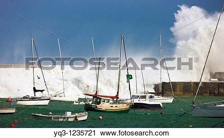 Stock Photography of Storm at the Bay of Biscay, Port of Castro.