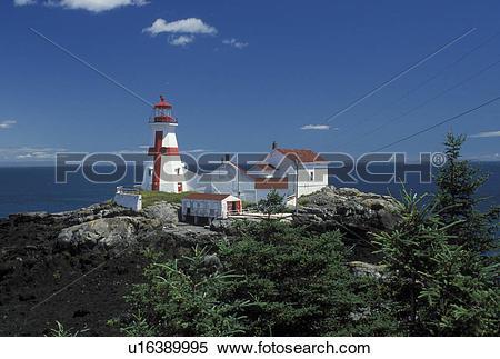 Stock Image of lighthouse, New Brunswick, Campobello Island.