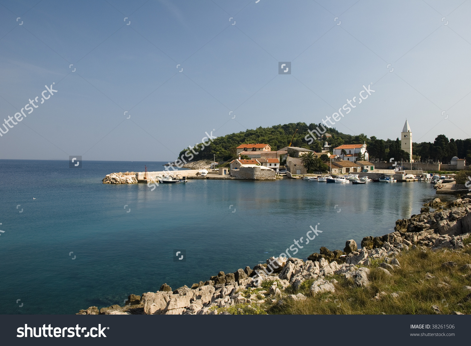 Saint Martin (Sveti Martin) Bay On Island Losinj, Croatia. Stock.