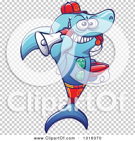 Clipart of a Cartoon Baywatch Lifeguard Shark Blowing a Whistle.