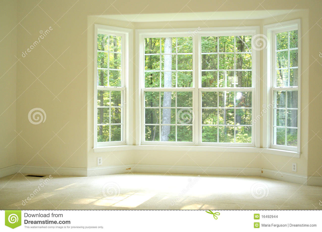 Open And Bright Room With Bay Window Stock Images.