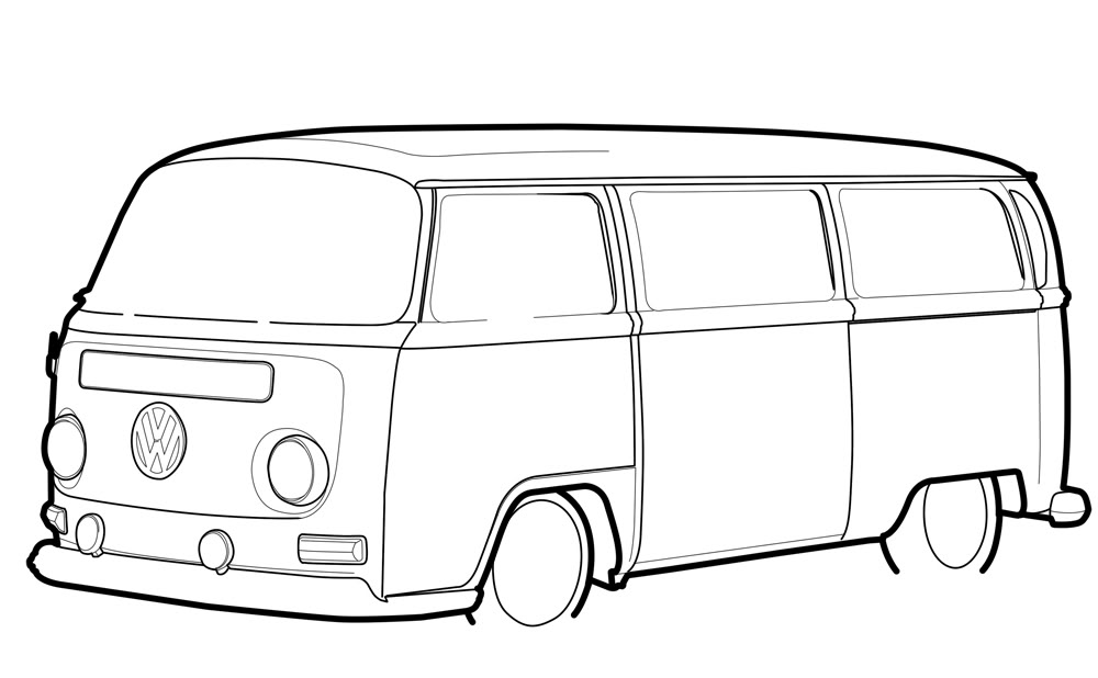 Pix For >, Vw Bus Outline.