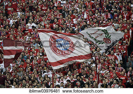 """Stock Photography of """"Supporters stand, fans of Bayern Munich."""