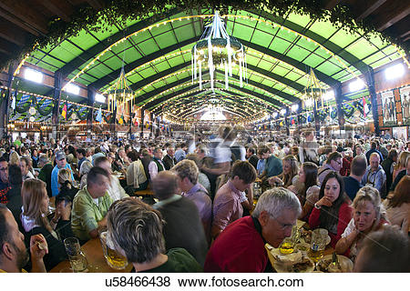 Pictures of Germany, Bayern, Munich. The crowds inside a beer tent.