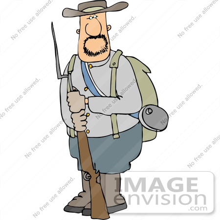 Confederate Soldier Holding a Socket Bayonet Rifle Clipart.