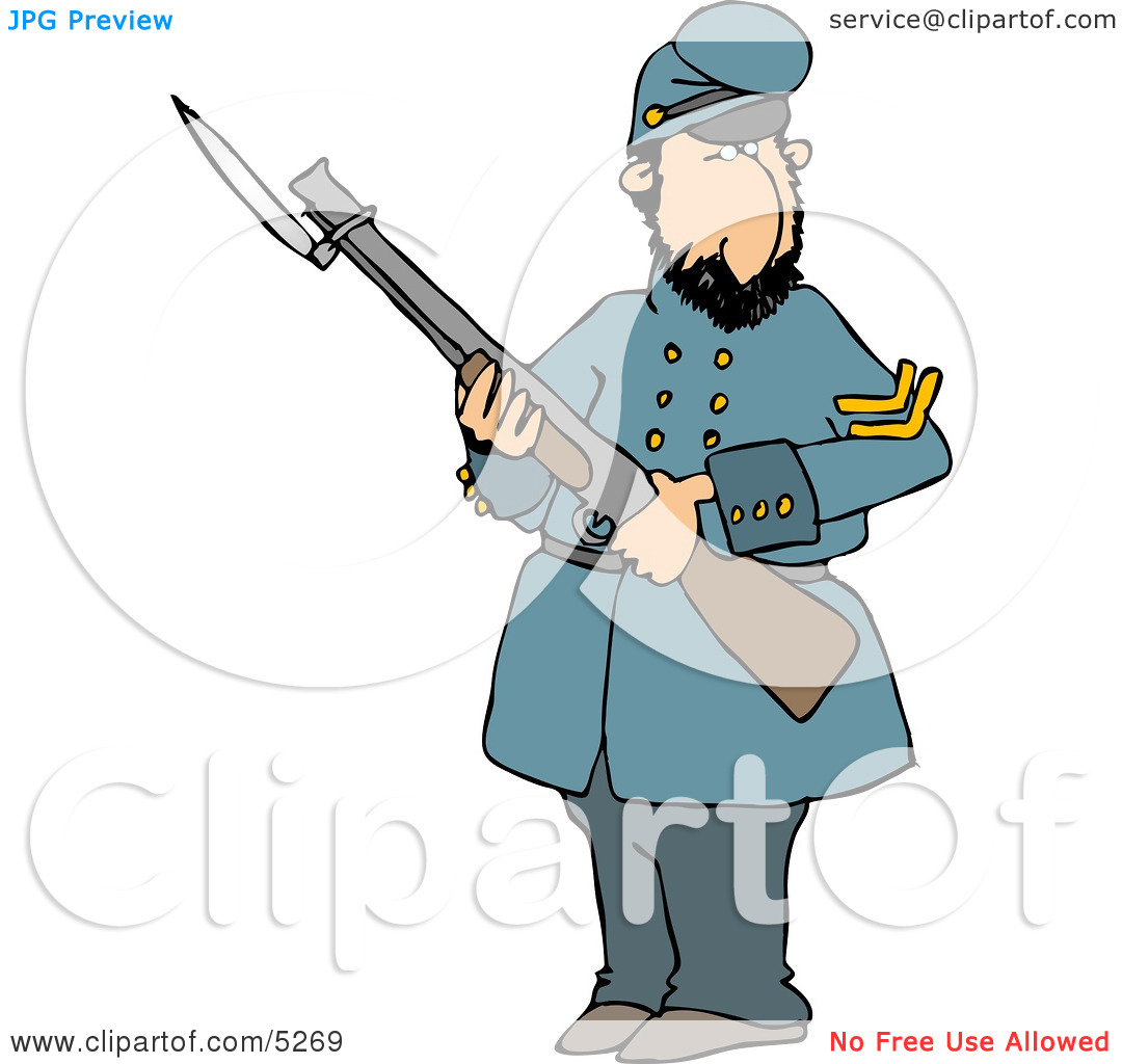 Old Union Soldier Man Armed with a Rifle and Bayonet Clipart.
