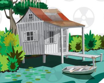 Louisiana Swamp Cabin Clipart, Vector Louisiana Swamp, Bayou Bait.