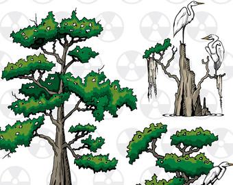 Bw clipart bayou cypress tree.