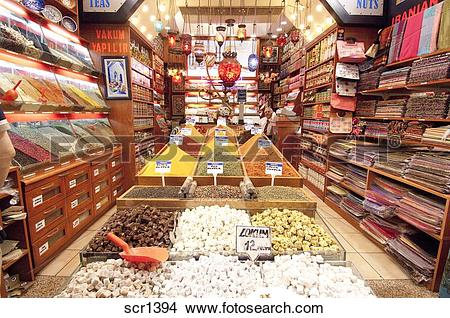 Stock Photo of Turkey. Istanbul. Man selling spices, fruit, nuts.