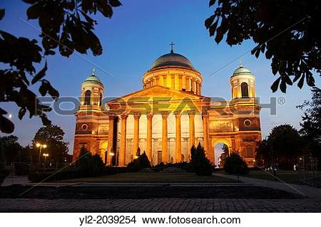 Stock Photo of Exterior of the Neo Classical Esztergom Basilica at.