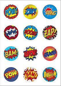 Details about 12 Large 50mm Superhero Retro Pow Zap Comic.