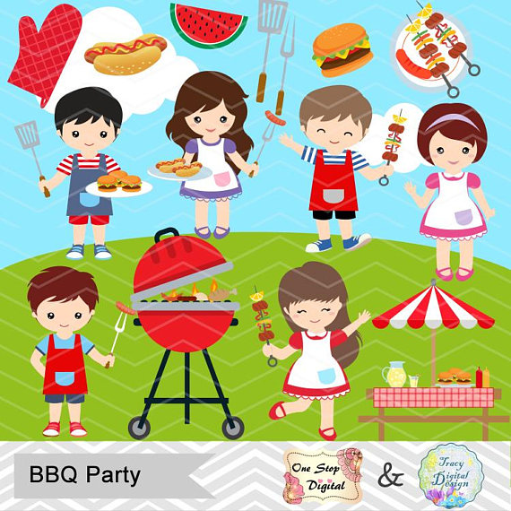 Digital BBQ Clipart, Boys Barbecue Clip Art, Girls BBQ.