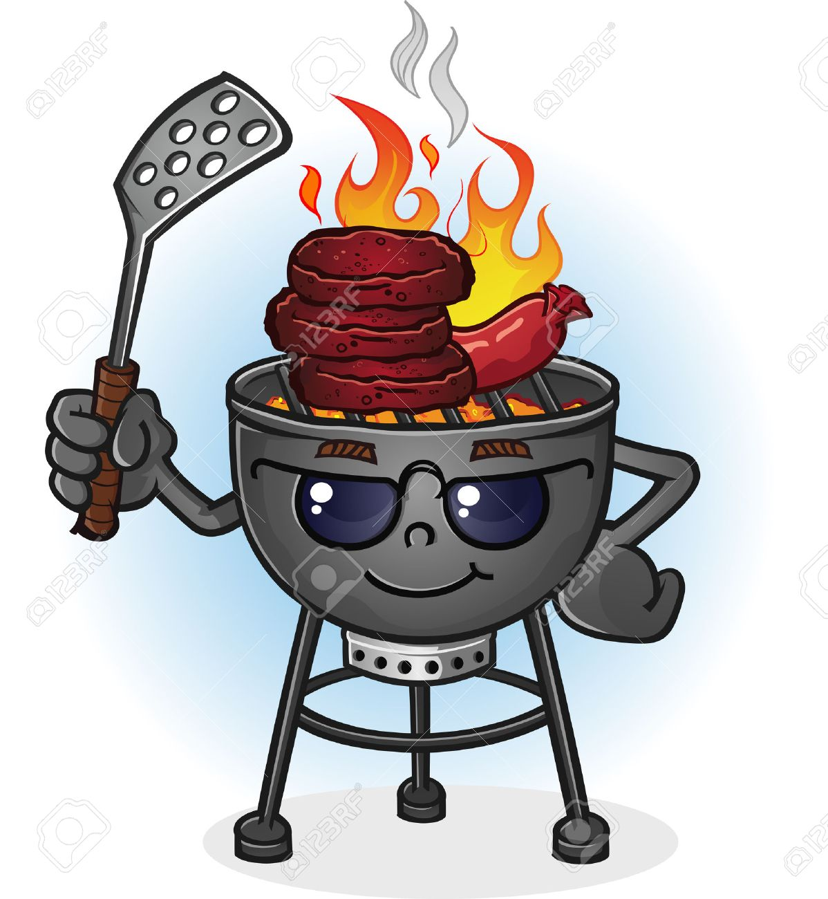 Barbecue Grill Cartoon Character with Attitude.