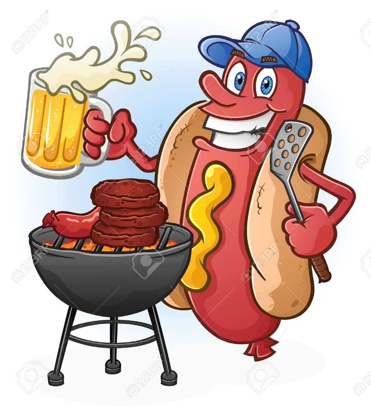 Hot Dog Cartoon Tailgating with Beer and BBQ Cartoon Character.