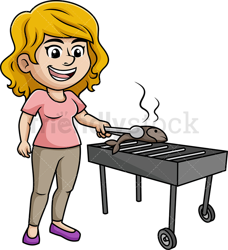 Woman Grilling Fish On The BBQ.