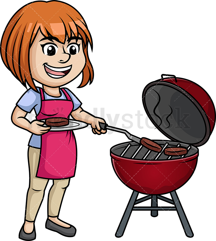 Woman Cooking BBQ.