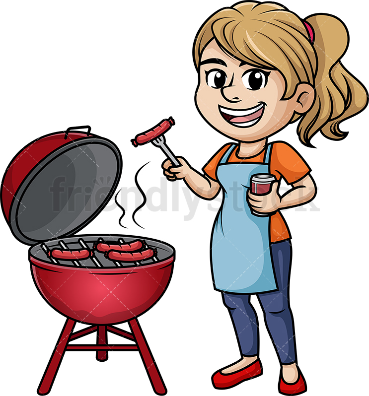 Woman Cooking Barbecue.