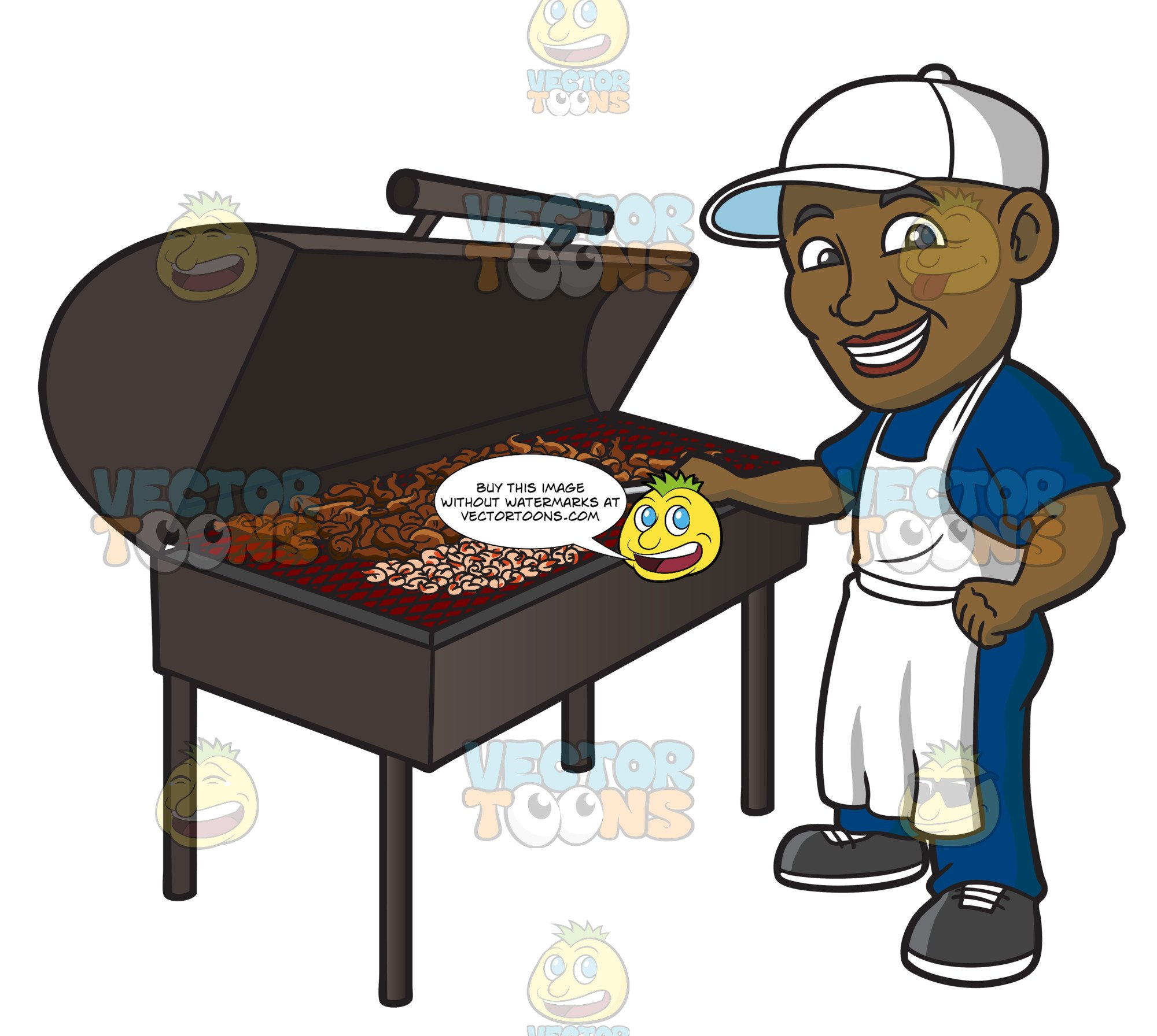A Black Man Grilling Chicken.