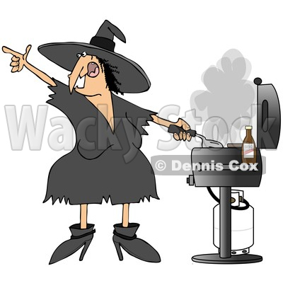 Clipart of a Cartoon Chubby Halloween Witch Grilling on a Bbq.