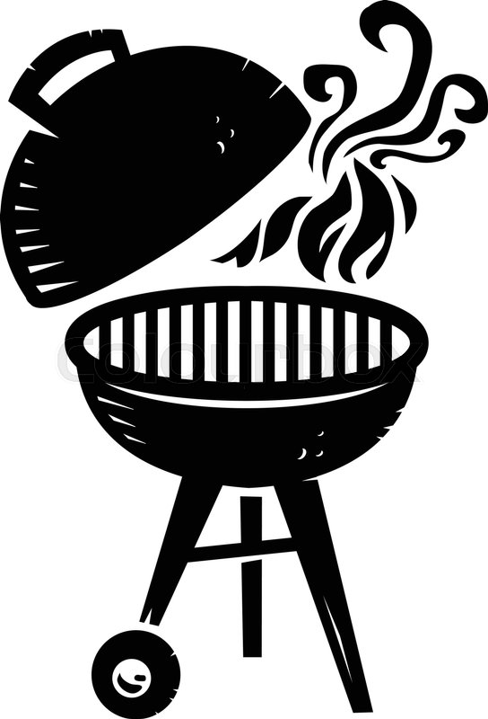 Black BBQ Grill Cooking With Smoke And Flame Vector Icon.