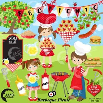 BBQ Clipart, Picnic clipart, Barbecue Clip Art, Party Clipart, AMB.