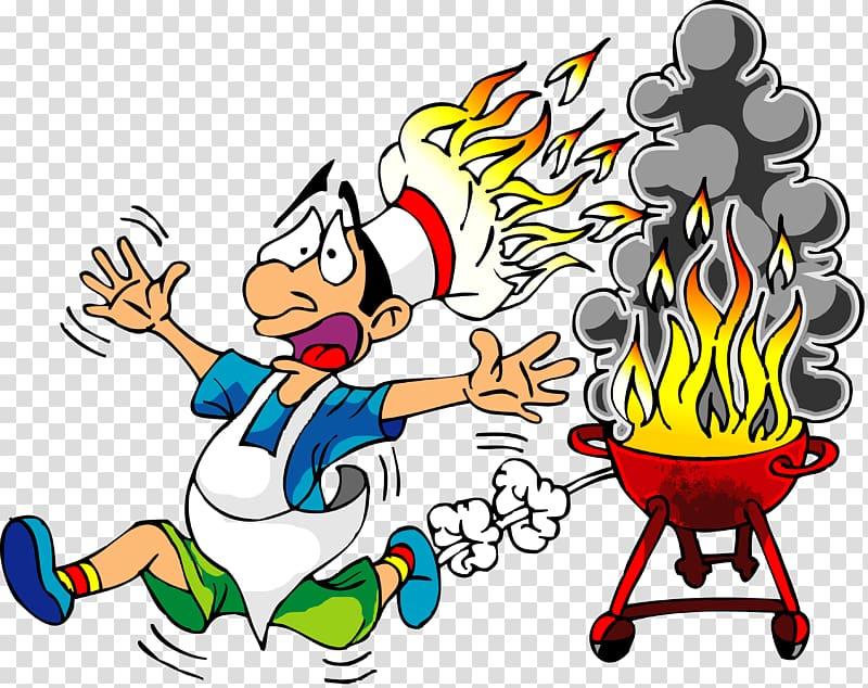 Barbecue chicken Western BBQ , Cartoon Fire transparent background.