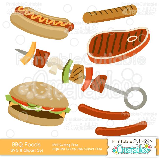 Grilled BBQ Foods SVG Cut File & Clipart Set.