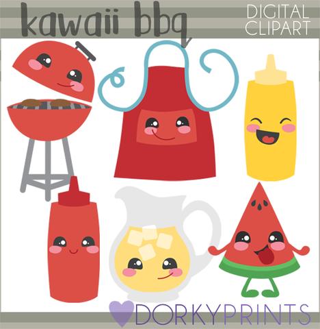 Kawaii BBQ Food Clipart.