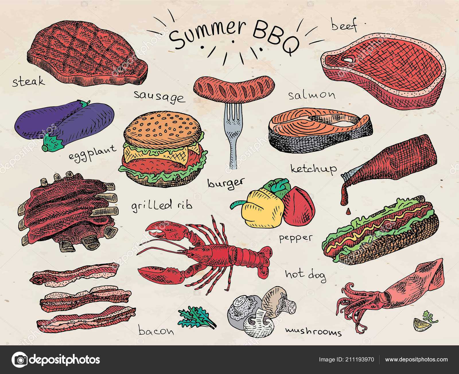 Beautiful Illustration Summer Bbq Food Ribs Sausage Beef Steak.