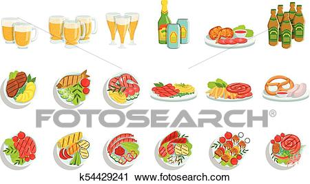 Oktoberfest Grill Set Of Food Plates Illustrations From Above Clipart.