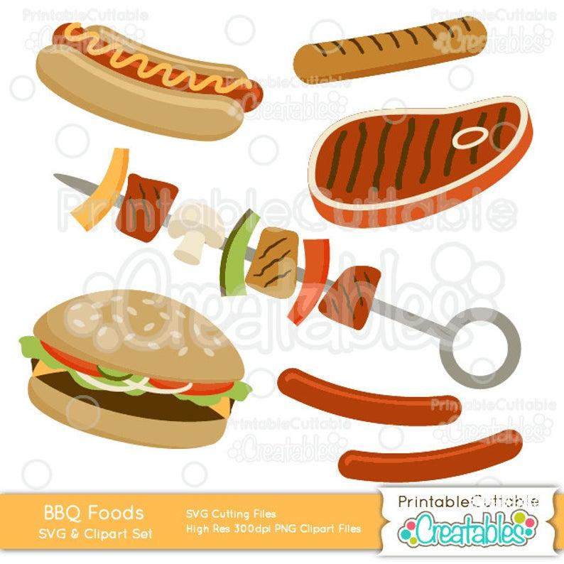 Grilled BBQ Food Cut Files & Clipart Set ES018.