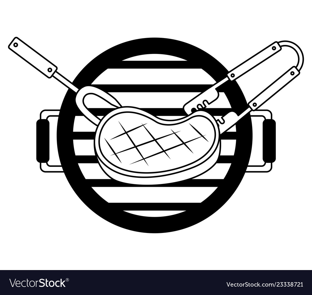 Grill barbecue meat steak fork and tongs.