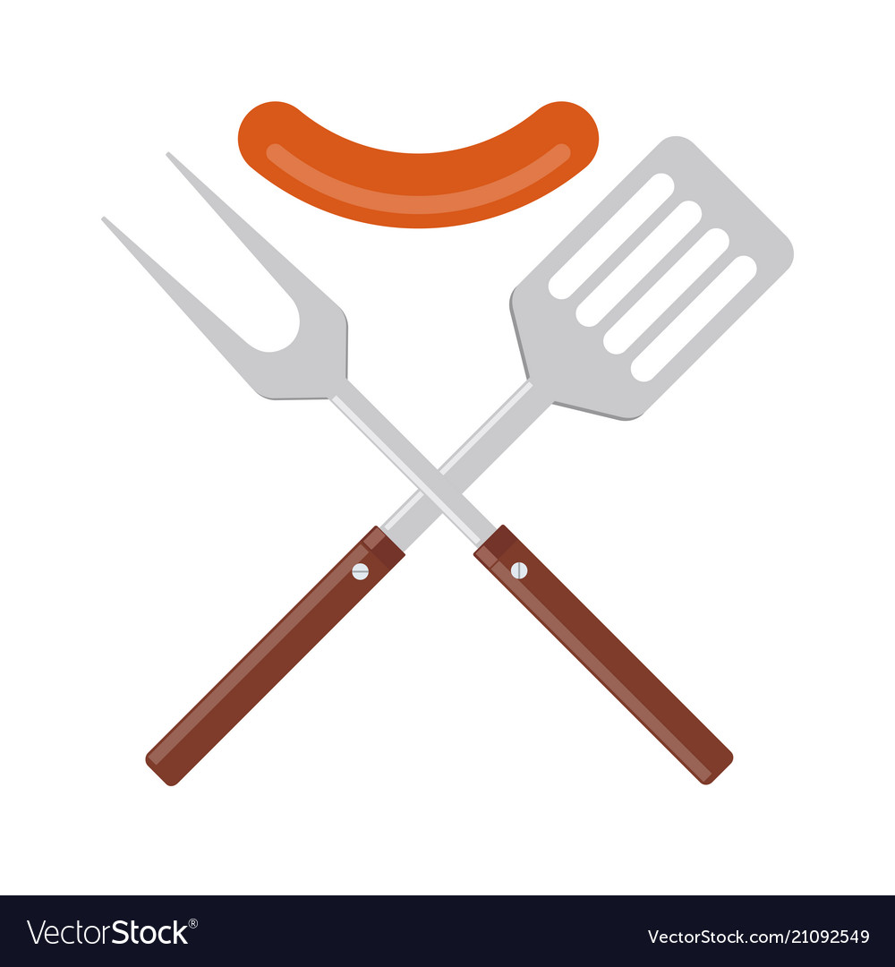 Bbq or grill tools icon crossed barbecue fork and.
