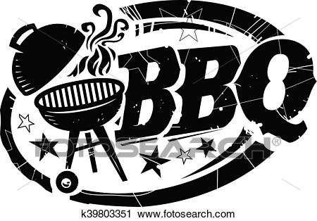 BBQ Grill with Smoke and Stars Text Clipart.