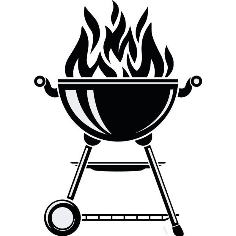 BBQ Grill #1 Grilling Barbecuing Barbecue Cooking Cook Out Chef Food  Kitchen Restaurant Logo Label Emblem.SVG .EPS Vector Cricut Cut Cutting.