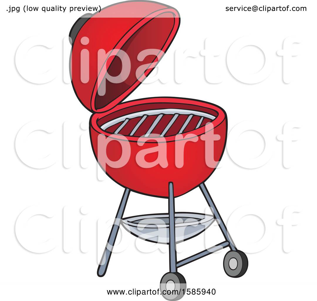 Clipart of a Red Bbq Grill.