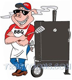 245x273 BBQ Smoker Clip Art Free Pig Chef leaning on BBQ.