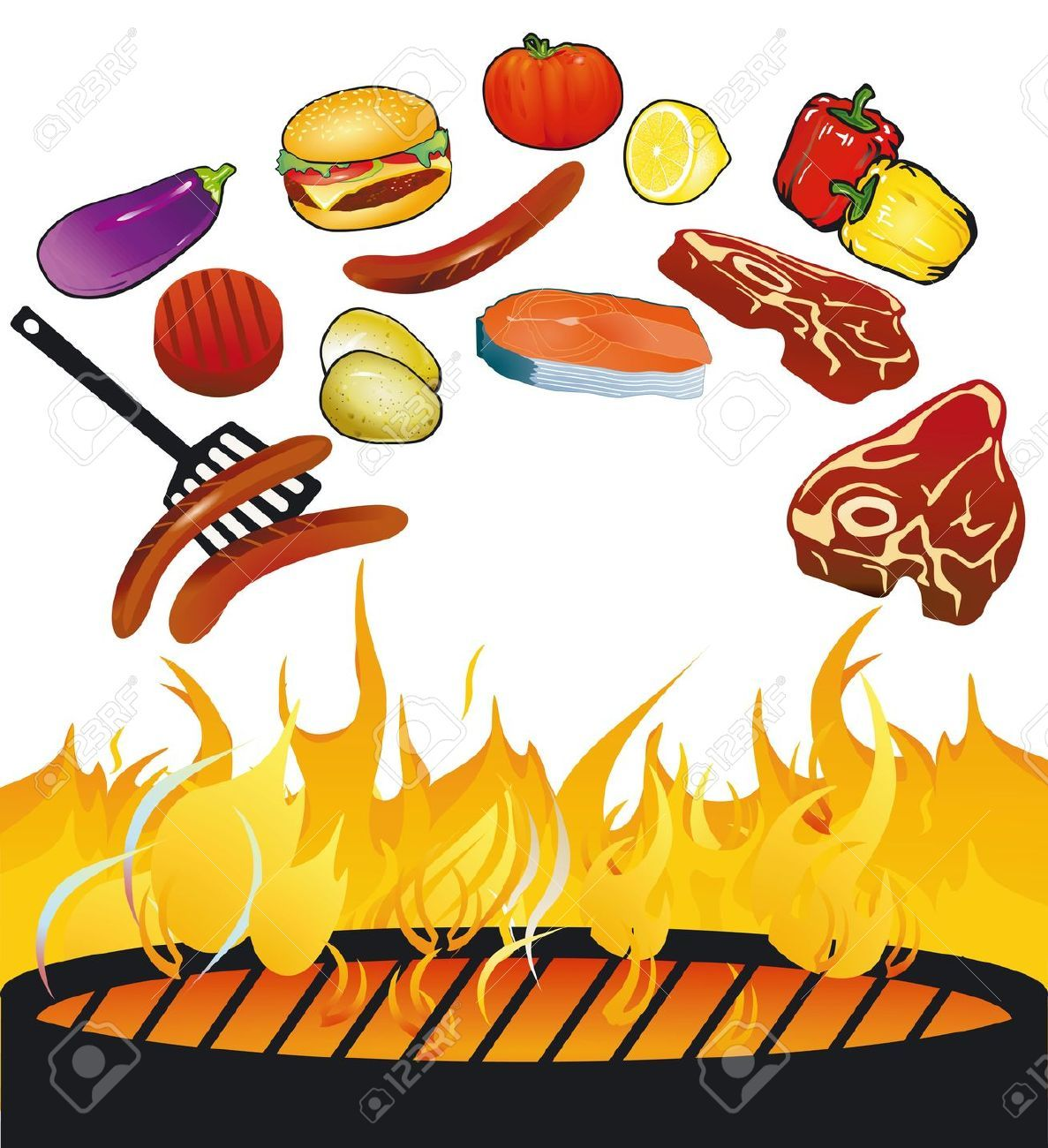 Bbq grill with fire clipart 2 » Clipart Portal.