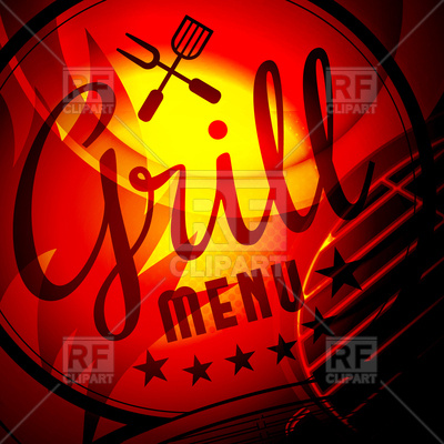 Barbecue grill on fire background Vector Image.