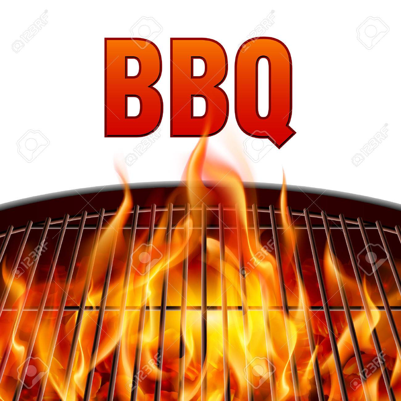 Closeup BBQ grill fire on white background.