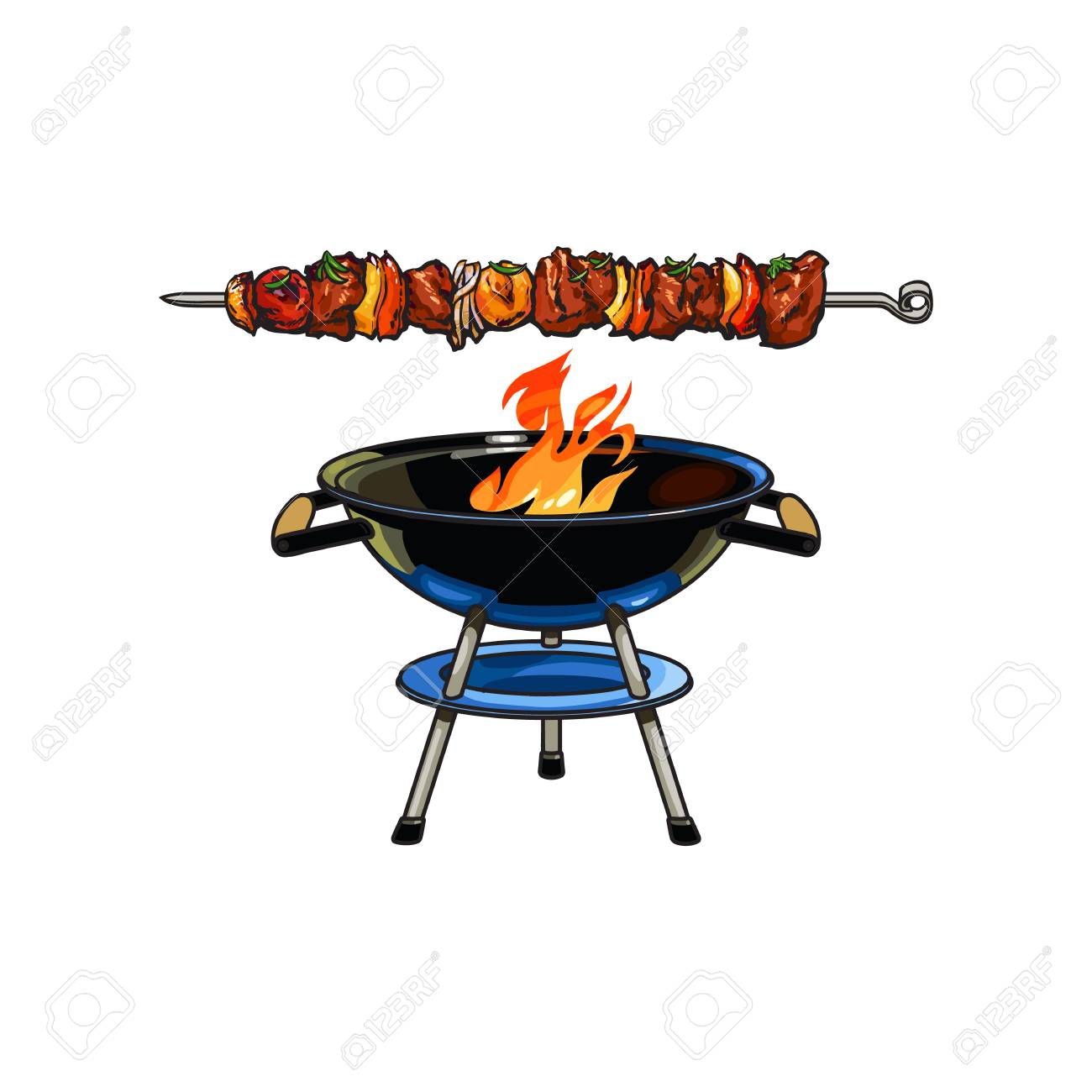 Round barbecue, BBQ charcoal grill with burning flame, sketch...