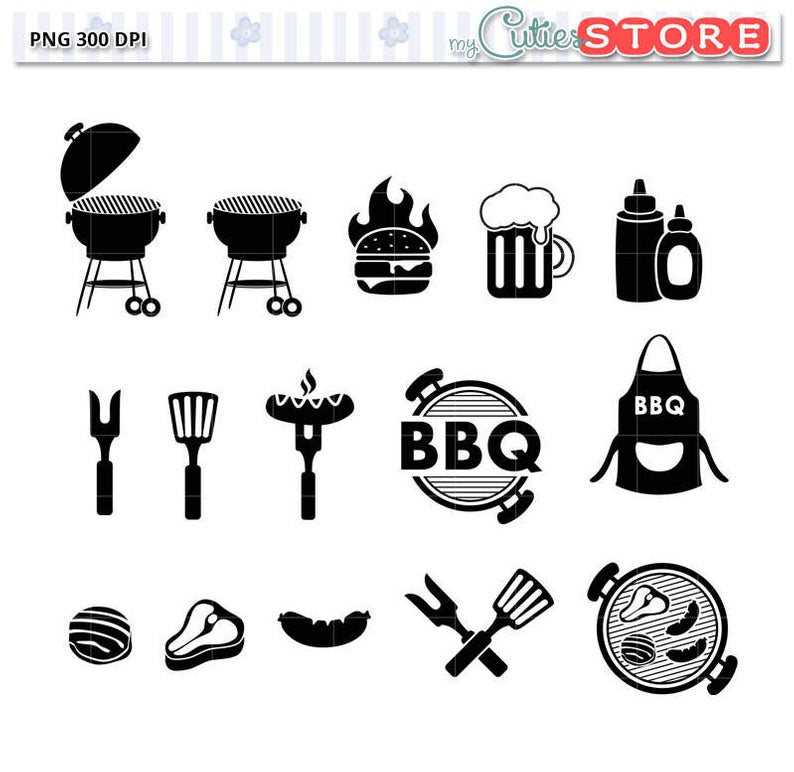 Sale BBQ Icon Set Clipart. Backyard Grill Silhouette Icons for commercial  or personal use. Functional Icon Set.