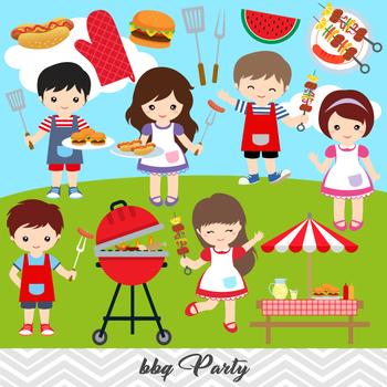 BBQ Clipart, Boys Barbecue Clip Art, Girls BBQ Clipart, 0248.