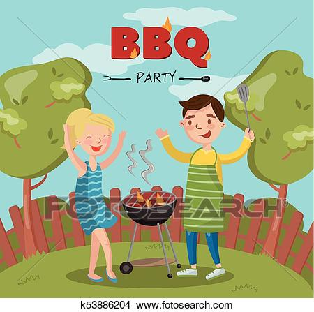 Smiling man and woman cooking barbecue on the backyard, BBQ party vector  Illustration with flaming grill Clipart.